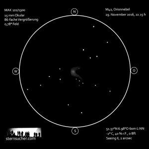 Orionnebel M42 mit Sternenumgebung bei fst = 3,0 mag