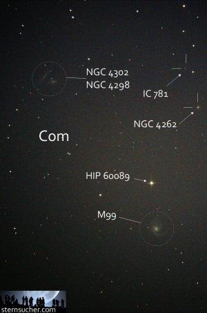 """Hinter dem grauen Vorhang: Galaxiensuche mit der Kamera, Aufnahme mit 6"""" f/5 Newton, Pentax K-500, 10 x 25 Sek. (4 Min. 10 Sek.), ISO 1600"""