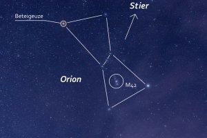 Markante Form am Winterhimmel: Der Himmelsjäger Orion mit seinen Hauptsternen